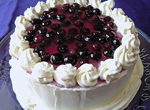 Fully-decorated blueberry mousse cake
