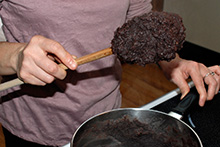 Bean paste of the correct consistency, sticking to the spoon